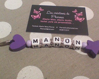 Personalized Keychain with heart and Star name mauve purple and lilac rhinestones