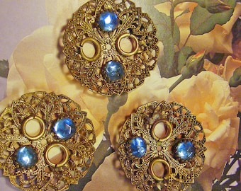 Amazing group of Vintage domed filigree findings with blue stone