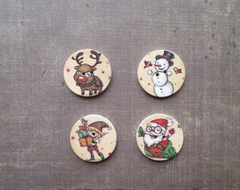 16 buttons round wood pattern holiday snowman of snow Father Christmas Reindeer 2.5 cm