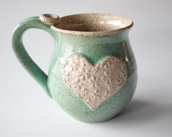 Mint and Oatmeal Heart Mug, Ready to Ship, Holds 14 oz, Mug with textured heart, flowery texture