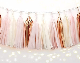 Tissue Tassel Garland  fully assembled -Champagne -pink-Blush-rose gold- Paper Modern Room Wedding Shower Tassel Decor Balloon Tails birthuo