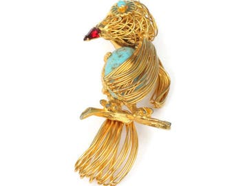Wire Work Bird Brooch Turquoise Speckled Glass Tummy Vintage Bird Lover Gift