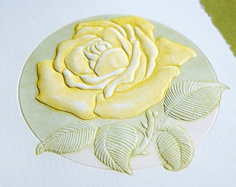 Yellow Rose Card. Flower Card Letterpress. Birthday. Notecard. Single card. Blank inside.