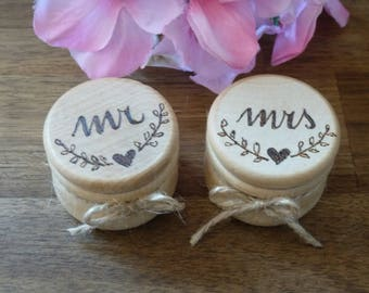 Mr Mrs Wedding Ring Boxes, Wedding Ring Pillow, Wooden Ring Bearer Box, Natural Wood Ring Box Engraved, Bride Groom His Hers 2 set