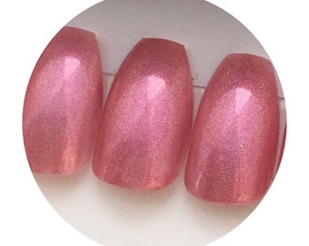 Pink Holo Press On Nails | Coffin Stiletto Square Oval Nails | Extra Long Nails | Short or Long Holo Pink Nails | Luxury Press On Nails