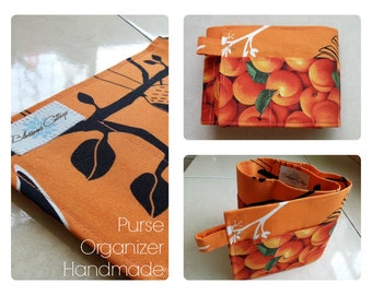 24 inch / 7 pockets Purse / Bag Organizer Insert - (Medium) Orange Peach and Bird Print Fabric