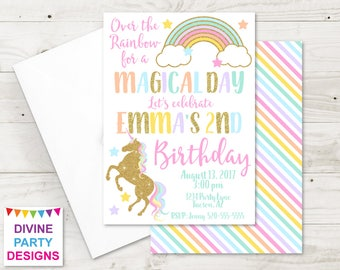 PERSONALIZED Printable 5x7 Unicorn Birthday Party Invitation / Unicorn Collection / Item #3502