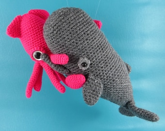 Squid vs Sperm Whale - PDF amigurumi crochet pattern