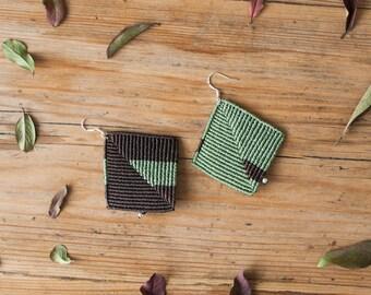 Geometric micromacrame earrings, geometric macrame earrings, handmade geometric macrame jewelry, geometric jewelry, micro macrame earrings