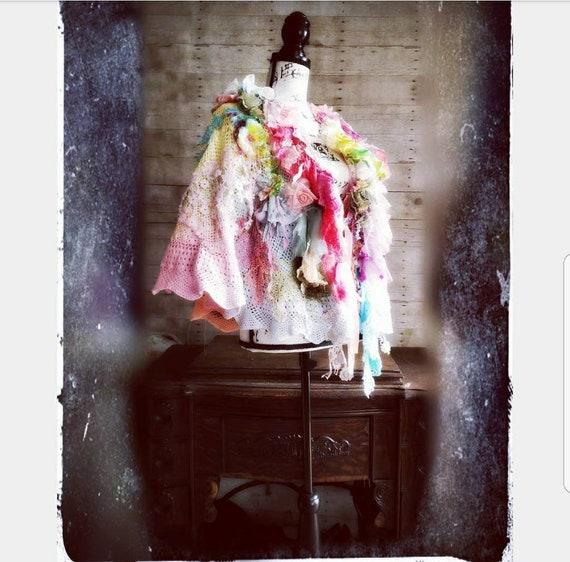 ruffle Shabby shawl fiber Chic pixie Sherbet Pink textile Lace jacket Shrug bolero Embellished poncho art mori caplet OS crochet Sunshine wxCO5qZn54