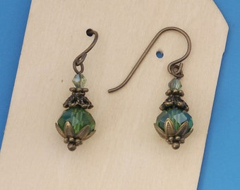 Delightful dangle earrings with green crystal beads, hypo-allergenic niobium earring wires, forest, festival, hippie, gypsy, gift for her