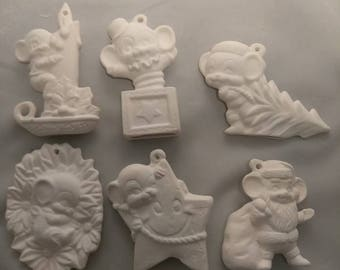 Free Shipping!  Mice #4 set of 6 ornaments ready to paint ceramic bisque