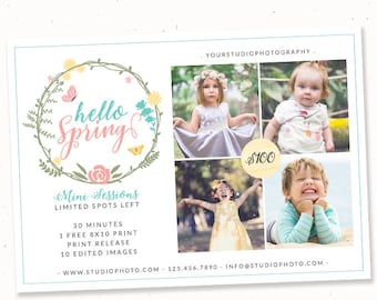 Spring Mini Session Template Photographers, Photography Template, Spring Session Flyer, Photography Spring Mini Session Marketing Template