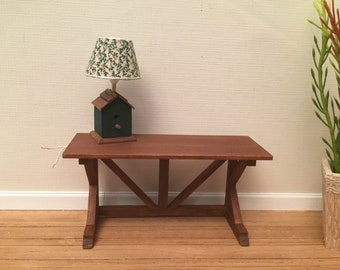 1:12th Scale Dollhouse Miniature Console/Desk in Walnut Stain