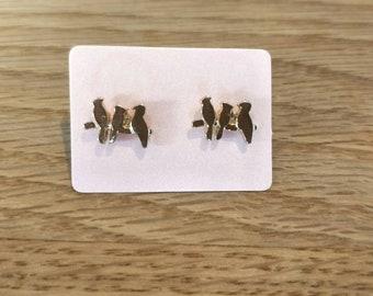 Sale Studs /Gold Bird Studs/Gold Stud/Boho Stud/Gift Earrings/Birds on Branch Earrings/ Bird Earrings/ Bird Studs