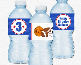 Sports Water Bottle Labels, All Star Party Decorations, Sports Themed Birthday Bottle Wraps, Sports Printable