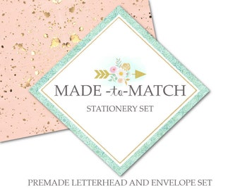 Made to Match Letterhead and Envelope for a Premade Item-Previously Purchased Stationery Set-Material for Printing