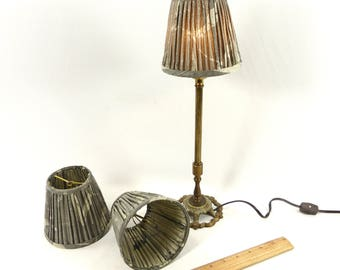 Lamp Shades Chandeliers Sconces 3 Small Round Pleated Grey Silk