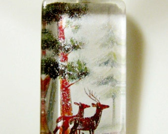 Two deer in the forest pendant and chain - WGP12-005