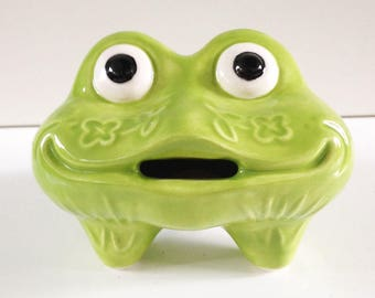 Green Frog Piggy Bank Ceramic Toad Gift Vintage design Coin Money Box Three legs