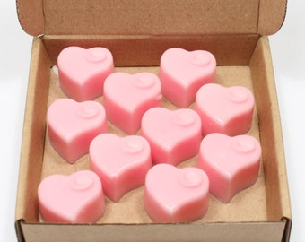 Valentine's Hearts Wild Rose Scent Handpoured Highly Scented Wax Melts Tarts x10
