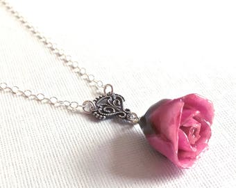 Fuchsia Real Rosebud Necklace - Natural Preserved, Sterling Silver, Flower Jewelry, Botanical Jewelry