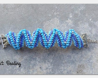 Blue Zig Zag Raised Chevron Bracelet
