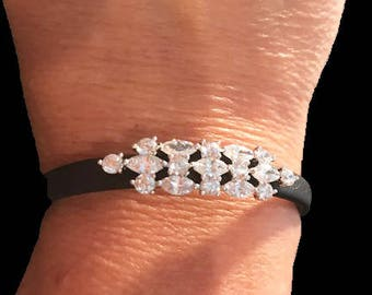 Stunning Crystal Art Deco Cluster Adjustable Black Leather Bracelet( One size fits Small - Large)