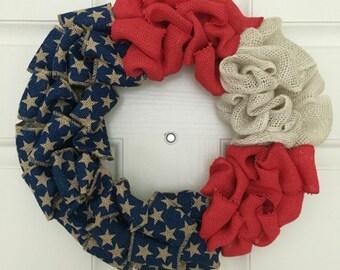 Burlap Wreath, Patriotic Wreath, American Flag Wreath, 4th of July Wreath, Memorial Day Wreath, Fourth of July, Americana