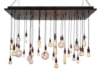Industrial Chandelier - Rustic Lighting, Modern Chandelier, Edison Bulbs, Dining Room Lighting, Urban Chandelier, Wood Chandelier