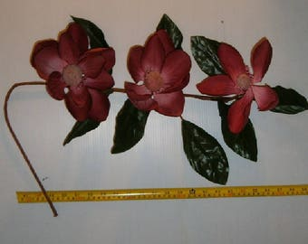 12 Long Stem 3 Bloom Mauve Magnolia Flowers , Silk Flowers