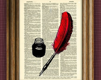 INK POT and FEATHER Quill Pen illustration beautifully upcycled dictionary page book art print