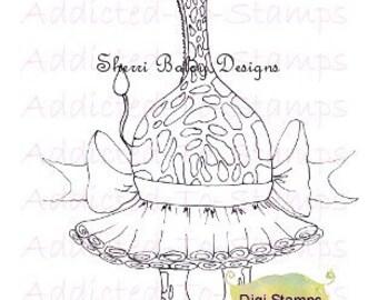 Instant Dowmload Digi Stamps Gritty Giraffe Ballerina Zoo-Zie-DooZ By Sherri Baldy