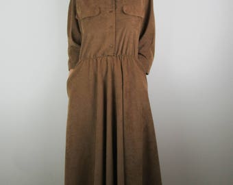 Vintage 70s 80s Dress / Tan Brown Faux Suede Soft Boxy Batwing Sleeve Mid Length / Medium M Large L