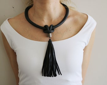 Leather necklace, Black leather necklace, Leather tassel necklace, Leather accessories.