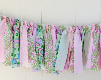 EASTER Rag Tie, Rag Fringe, Fabric Garland, Easter, Nursery, Shower, Tea Party,  Cottage Style, Birthday, Wedding, Photo Prop