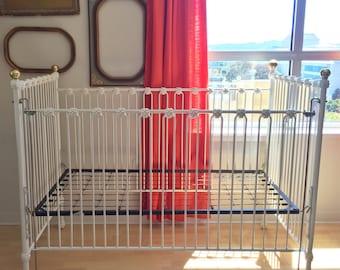 RESERVED for KARI --- Vintage Iron Crib - Corsican Crib - Antique Crib - Brass and Enamel Crib - White Crib