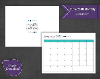 2017-2018 Monthly Calendars Sunday Start 1 Page per Month (Landscape and Portrait)