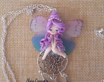 Fairy necklace, dream catcher  polymer clay