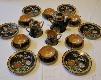 Vintage Iridescent Japanese Tea Set. Hand Painted, Enameled.