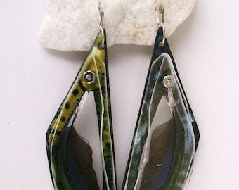 Enameled Pet Parrot Feather Specimen Earrings