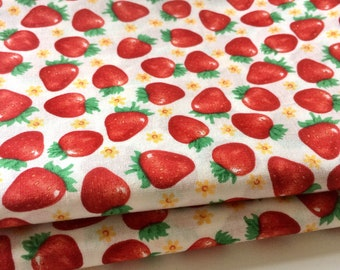 Two Remnants Rose & Hubble Strawberry Fayre Cotton Fabric