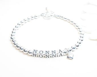 Nonna Bracelet - Grandmother Bracelet - Sterling Silver Name Bracelet - Personalized Bracelet - Adult Name Bracelet - Beaded Name Bracelet