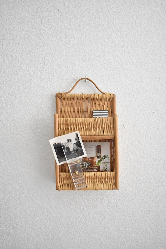 wall hanging mid century wicker rattan office organizer / bamboo paper storage file