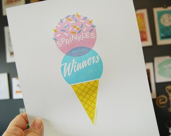 Ice Cream Cone Letterpress Wall Art Print JJD_LP_ICCP