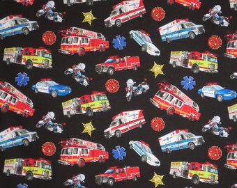 Colorful Tossed Emergency Vehicles on Black Pure Cotton Print Fabric--By the Yard
