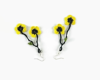 Dangle Flower Earrings ,Yellow And Black Crochet  Earrings , Lace Earrings, Crochet Jewelry, Boho Chic Summer Jewelry