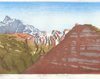 Vieux-Chaillol - hand pulled moku hanga woodblock print