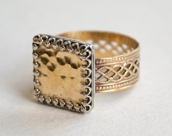 Gold silver ring, square ring, goldfilled ring, hippie ring, twotone ring, unique engagement ring, boho ring, gypsy ring - Be For Real R2254