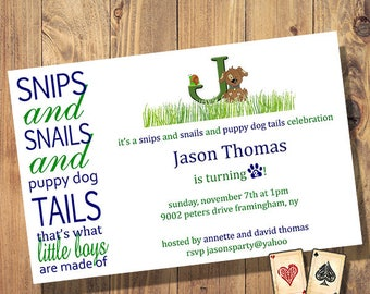 Little Boys, Puppy, Birthday, Party, Invitation, Evite, Printable, Digital, Download
